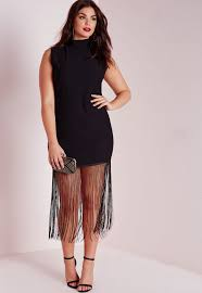 missguided plus size jersey fringed t shirt dress black in black