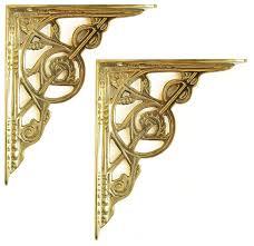pair of small brass victorian trellis shelf brackets 10cm 4