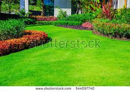 Formal Front Yard Landscaping Ideas - landscape formal front yard beautifully designed stock photo