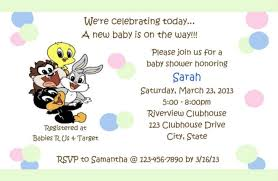 looney tunes baby shower baby shower invitation baby looney tunes birthday supplies