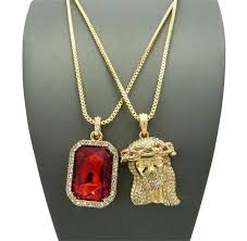 red stones gold necklace images Www jesus piece and red stone gold chain set JPG
