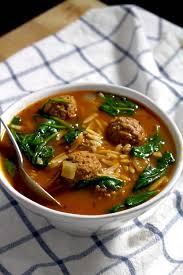 italian spinach orzo and meatball soup bowl of delicious
