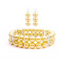 prom jewelry yellow jewelry stranded bracelet earrings prom jewelry