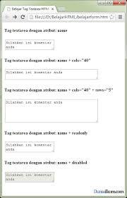 membuat form input menggunakan html fungsi dan cara penulisan tag textarea dalam form html duniailkom