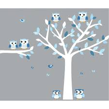 Boy Nursery Wall Decal Blue And White Owl Decal With Large Tree Decal For Boys