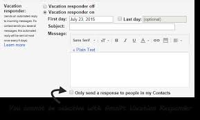 create out of office to certain addresses in gmail