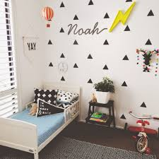 ways style black triangle wall decals kids room modern and clean boys room with triangle wall stickers