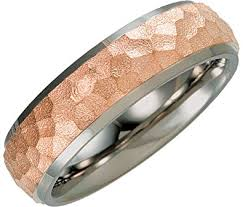 hammered gold wedding band gold ip hammered dome comfort fit 7mm titanium band