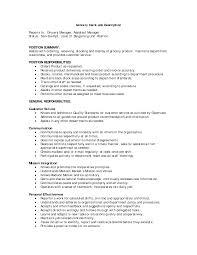 Resume Job Duties Cover Letter Deli Clerk Job Description Deli Clerk Job Description