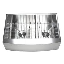 Kitchen Sink Combo - 33 inch double bowl 60 40 zero radius stainless steel curved front