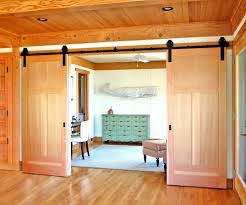 barn doors in bedroom hall traditional with recessed lights trim