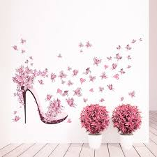 Shoe Home Decor High Heeled Shoes Flying Butterfly Branch Wall Sticker Home Decor