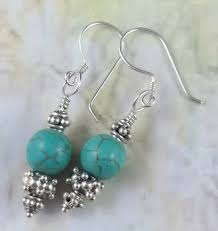 turquoise stone turquoise sterling silver decorative handmade earrings green blue
