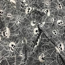 145cm wide blue skull fabric microstretch cotton fabric spider