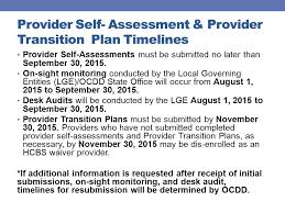 Desk Audit Definition Provider Self Assessments July 2015 Ocdd State Office Transition