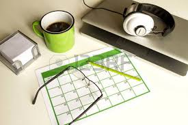 desk blank calendar on a white background stock photo picture and