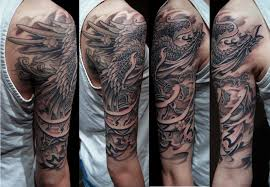 asian phoenix and clouds tattoos on sleeve real photo pictures