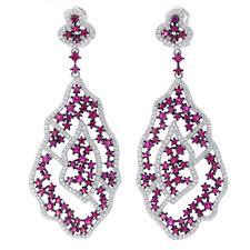 ruby drop earrings er2220wr sterling silver 925 rhodium plated ruby color cz fancy