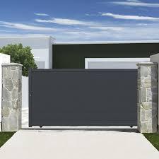 portillon jardin leroy merlin portail coulissant aluminium rioave gris l 350 cm x h 180 cm x h