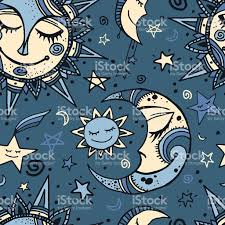 tribal seamless pattern with sun moon and stock vector
