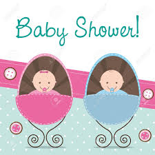 baby shower babies baby shower card with two babies royalty free cliparts vectors