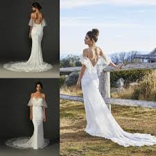 open back mermaid hippie wedding dresses with spaghetti
