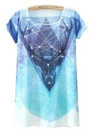 blue short sleeve galaxy deer print t shirt abaday com