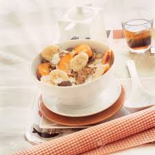 breakfast in bed tray cereal peach and banana yogurt and tea