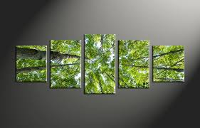 5 piece green leafy scenery trees canvas wall art
