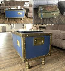 vintage trunk coffee table antique trunk coffee table diy fusion mineral paint liberty blue