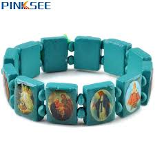 catholic bracelets fashion square wood bracelets jewelry for saints jesus
