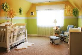 Elegant Nursery Decor by Attic Baby Room With Two Tone Wall Colors And Glider Rocker
