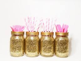 jar centerpieces gold wedding decor baby shower