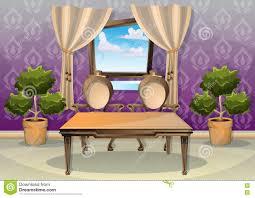 Livingroom Cartoon Cartoon Vector Illustration Interior Living Room Stock Vector