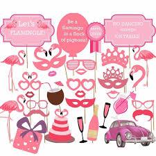 32pcs flamingo hawaii themed summer baby shower photobooth props