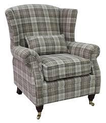 High Back Armchair Wing Chair Fireside High Back Armchair Lana Beige Check Fabric