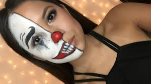 easy halloween makeup half clown face tutorial youtube
