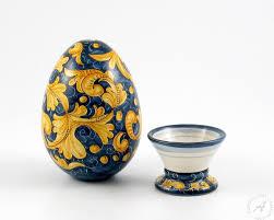 italian ceramics decorative egg with holder gubbio italian