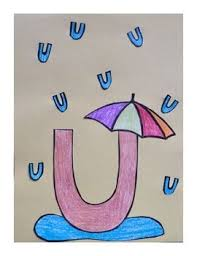 letter u cut paste craft template u is for umbrella letter