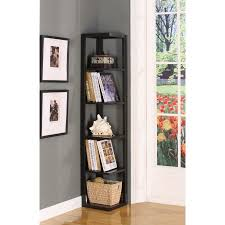 Corner Storage Shelves by Espresso Wood 5 Tier Corner Wall Bookcase Storage Shelves Display