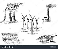 hand drawn sketch five power stations stock vector 74047603