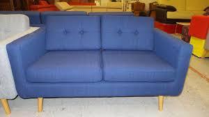 canape york canapé york 3 places style scandinave en tissu bleu meubles