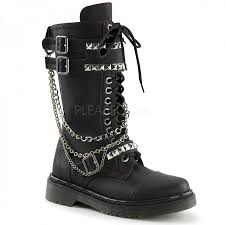 heeled biker boots womens combat boots with chains studs gothic biker boots for women