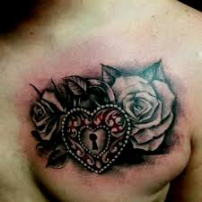 double heart and rose tattoo designs pictures to pin on pinterest