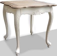 french provincial bed end table in white distress u0026 oak top