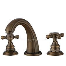 Antique Bronze Three Holes Cross Handle Bathroom Faucets Antique Bronze Bathroom Fixtures