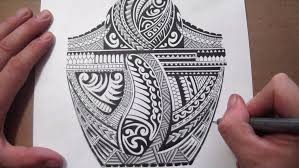 maori polynesian tribal half sleeve tattoo design adding black