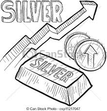 eps vector of silver price increase sketch doodle style silver