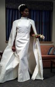 paper wedding dress the wore rolls and rolls of toilet paper mnn