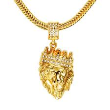 gold mens necklace pendants images Hip hop lion head pendant chain fashi men jpg